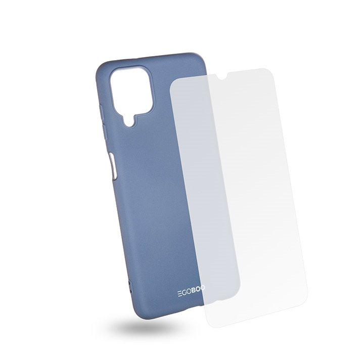 EGOBOO Tempered Glass + Case Rubber TPU Light Grey (Samsung A12)