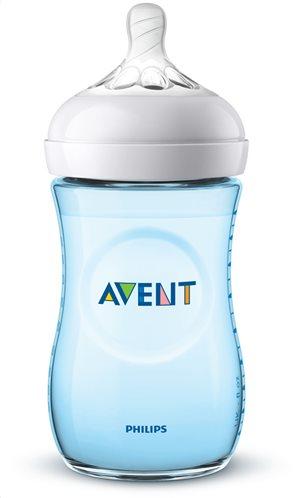 Philips Avent Μπιμπερό Πλαστικό Natural Μπλε με Θηλή Σιλικόνης Αργής Ροής 1m+ 260ml SCF035/17 Κατάλληλο για Κολικούς