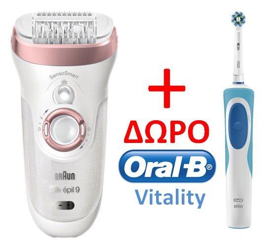 BRAUN Αποτριχωτική Μηχανή Silk Epil 9 Sensosmart Wet & Dry + 7 Εξαρτήματα & Δώρο Oralb SES9/880/ORAL