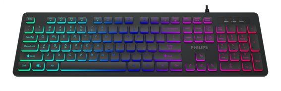 PHILIPS gaming πληκτρολόγιο SPK8264 ενσύρματο RGB ambiglow μαύρο