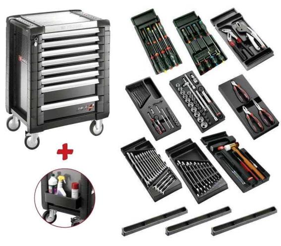 Facom Τροχήλατος Εργαλειοφόρος PB Μαύρος 8 Συρταριών και συλλογή εργαλείων με Safety Lock System SPOTLIGHT JET.8MG