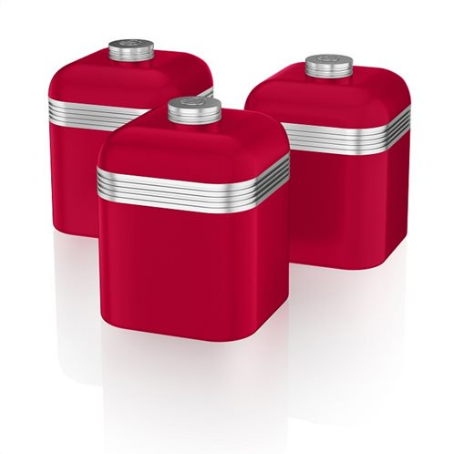 Swan Retro Set of 3 Canisters – Κόκκινο