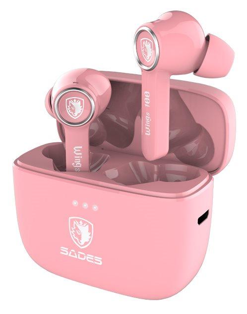 SADES gaming earphones Wings 100 με θήκη φόρτισης True Wireless ροζ