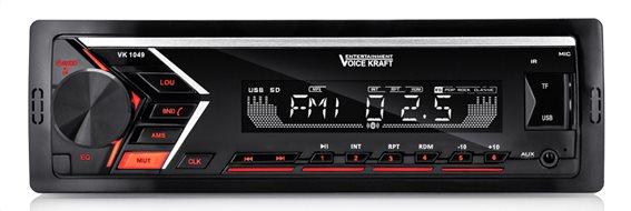 VOICE KRAFT car audio VK-1049 MP3-FM ΒΤ/AUX/SD/USB χειριστήριο κόκκινο