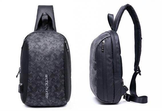 ARCTIC HUNTER Τσάντα Crossbody XB-00081-BKG USB αδιάβροχη μαύρη-grid