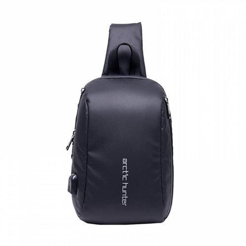 ARCTIC HUNTER Τσάντα Crossbody XB-00081-BK USB αδιάβροχη μαύρη