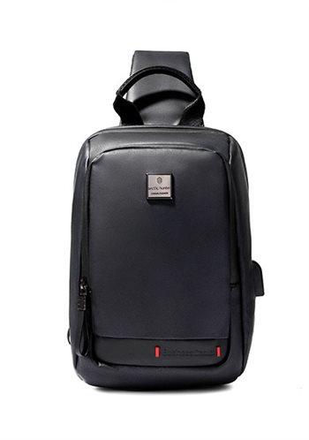 ARCTIC HUNTER Τσάντα Crossbody XB00088-BK USB αδιάβροχη μαύρη