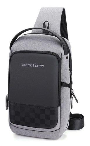 ARCTIC HUNTER Τσάντα Crossbody XB00105-BK USB αδιάβροχη γκρι