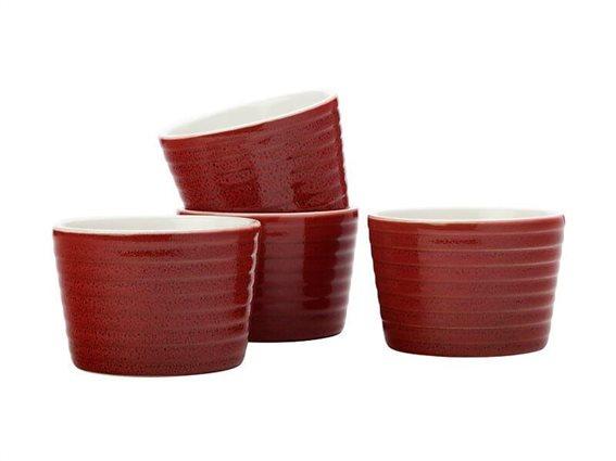 Maxwell & Williams Σετ 4 Τεμαχίων Ατομικά Σκεύη για Σουφλέ Cucina 10cm Κόκκινα