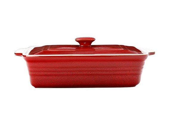 Maxwell & Williams Πυρίμαχο Παραλληλόγραμμο Σκεύος με Καπάκι Κόκκινο Cucina 32Χ24Χ10cm