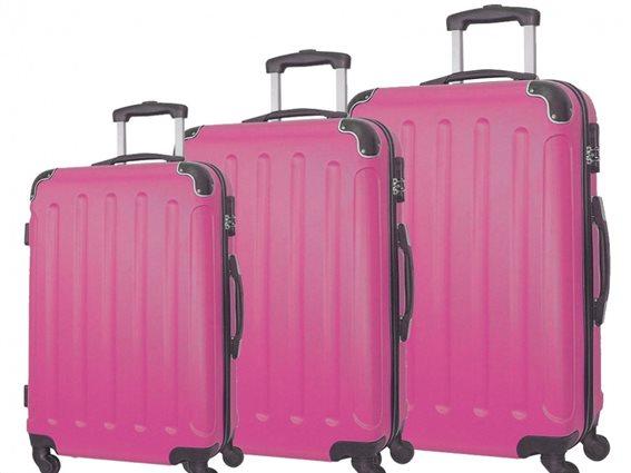 """Σετ βαλίτσες ταξιδίου 3 τεμαχίων, ABS με Τηλεσκοπικό Χερούλι 23"""" 26"""" 30"""" σε Ροζ χρώμα, QTC-1026"""