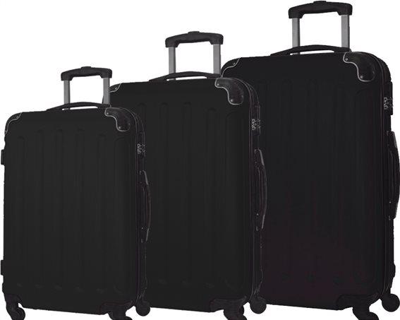"""Σετ βαλίτσες ταξιδίου 3 τεμαχίων, ABS με Τηλεσκοπικό Χερούλι, 23"""" 26"""" 30"""" σε Μαύρο χρώμα, QTC-1026"""