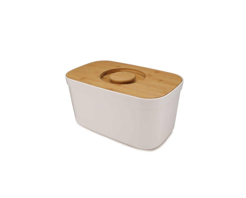 Joseph Joseph Ψωμιέρα 35,5x21,5x18εκ λευκή με ξύλινο καπάκι/βάση κοπής σειρά Bread Bin