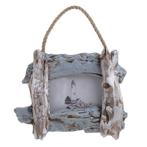 Inart Ξύλινη Κορνίζα κρεμαστή αντικέ λευκή/γαλάζια 26x5x20/30cm 4-30-928-0012