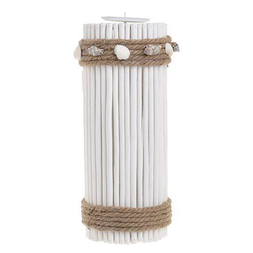 Inart Κηροπήγιο με Κοχύλια Ξύλινο/Μεταλλικό Λευκό 130x345mm 4-70-718-0001