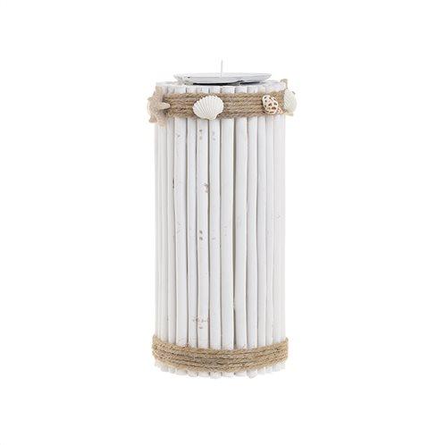 Inart Κηροπήγιο με Κοχύλια Ξύλινο/Μεταλλικό Λευκό 10x23cm 4-70-718-0003