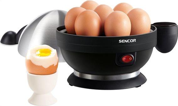 Sencor Βραστήρας Αυγών 7 Θέσεων Με Μεταλλικό Καπάκι Seg 720bs Γκρί Μαύρο