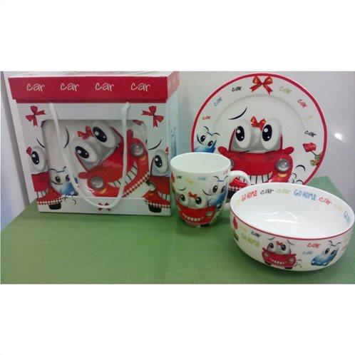 Cook-Shop Παιδικό Σετ 3τμχ Πορσελάνη Κόκκινο Αυτοκινητάκι