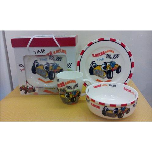 Cook-Shop Παιδικό Σετ 3τμχ Πορσελάνη Αγωνιστικό Αυτοκινητάκι
