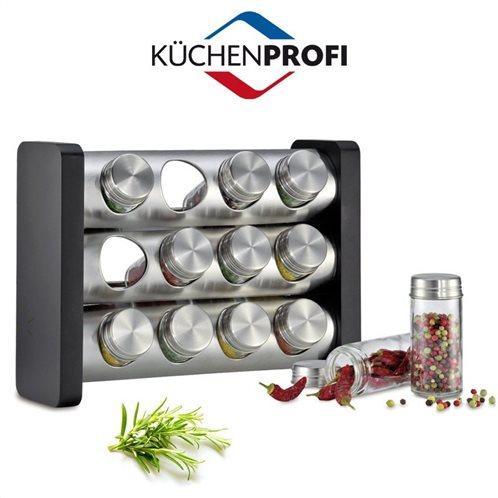 Kuechenprofi Σταντ για 12 Μπαχαρικά Ξύλινο Μαύρο 29,5Χ22Χ12cm