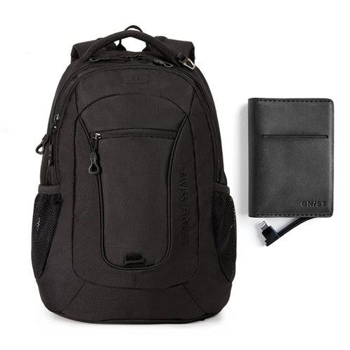 "Swissgear Σακίδιο πλάτης με θέση laptop 15"" Black Cod & ΔΩΡΟ Power bank για iPhone Black"