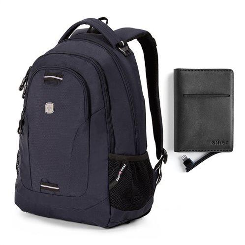 "Swissgear Σακίδιο πλάτης με θέση laptop 15"" Satin Black & ΔΩΡΟ Power bank για iPhone Black"