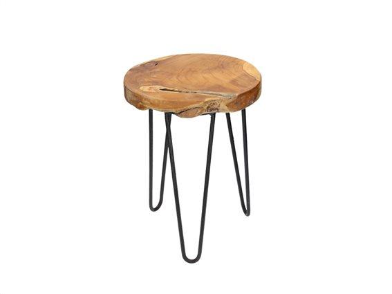 Σκαμνί-Σκαμπό από Ξύλο και Μέταλλο με Στρογγυλό Κάθισμα 42x30cm