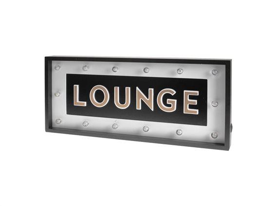 """Μοντέρνα Κρεμαστή Φωτιζόμενη Πινακίδα με LED και θέμα """"Lounge"""" 54x24x4.8cm"""