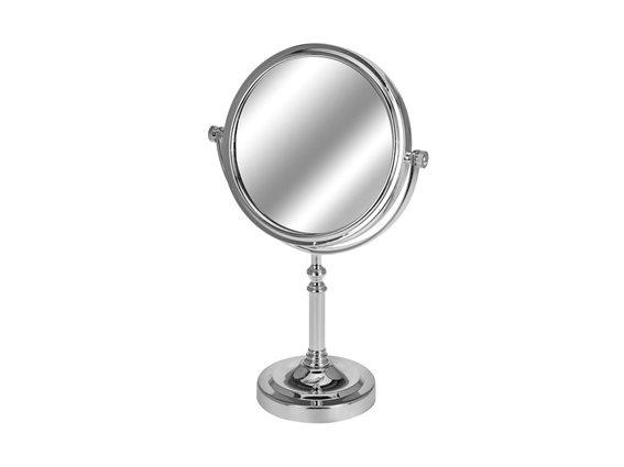 Μεγενθυτικός Καθρέφτης 35x17cm με Βάση 2 όψεων σε Ασημί χρώμα
