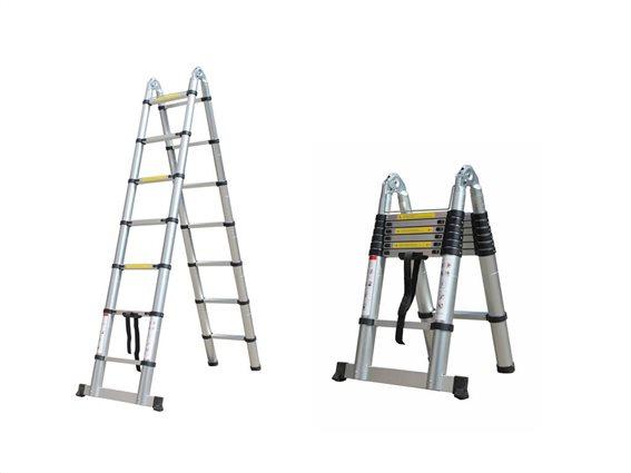 Herzberg Τηλεσκοπική Σκάλα 4.40 m από Αλουμίνιο με 13 σκαλιά και αντιολισθητικά πόδια, HG-5440