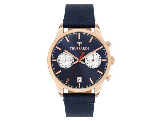 Trussardi Αντρικό Ρολόι My Time Chronograph Blue Leather Strap, R2471613001