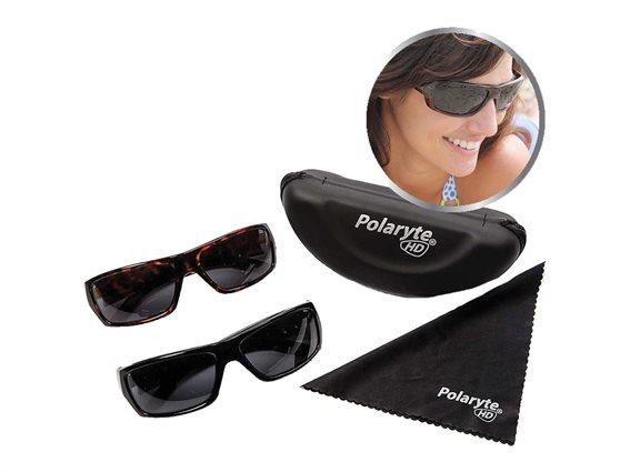 Polaryte HD Unisex Γυαλιά Ηλίου 1 με Μαύρο Σκελετό, Μαύρο φακό, 100% προστασία UV