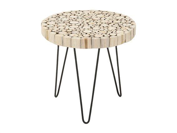 Έπιπλο Στρογγυλό Τραπέζι Side Table από Ξύλο Teak και με μοτίβο κομμένους κορμούς, διαμέτρου 50cm