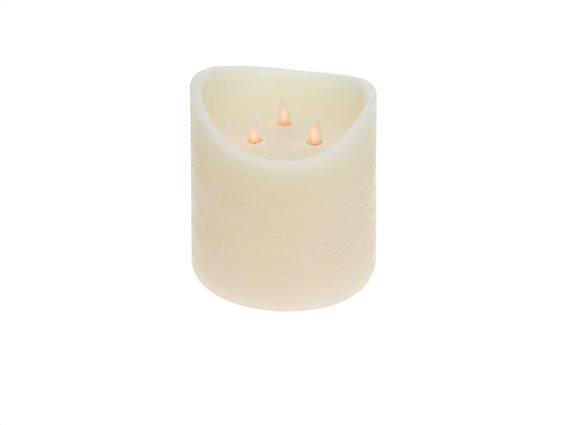 Led Διακοσμητικό Κερί με 3 Κινούμενες Φλόγες και ρυθμιζόμενο χρονοδιακόπτη, 15x15x15cm