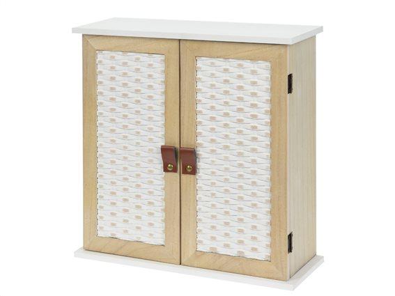 Διακοσμητικό Ξύλινο Ντουλαπάκι αποθήκευσης,4 θήκες ράφια αποθήκευσης,  30x32x12, HZ1007820