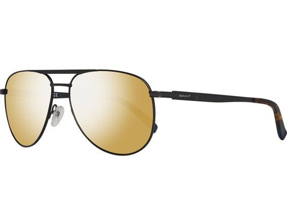Gant Ανδρικά Γυαλιά Ηλίου με Μαύρο Μεταλλικό σκελετό, Χρυσό Φακό με 100% προστασία UV και Θήκη