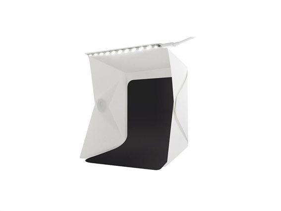Μίνι φωτογραφικό αναδιπλούμενο studio 28x23x22 για Ήπια Αντανάκλαση με LED Φωτισμό και 2 backgrounds
