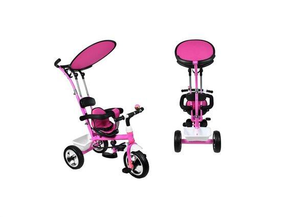 Παιδικό τρίκυκλο ποδήλατο με προσαρμόσιμη Τέντα προστασίας  για ηλικίες 3+, σε Ροζ Χρώμα RT6057