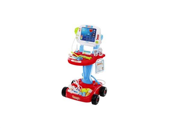 Aria Trade Παιδικό Τρόλεϊ Γιατρού, Ιατρικός Πάγκος, Παιχνίδι μίμησης, ηλικίας 3+, με ήχους και φωτάκια, 6114