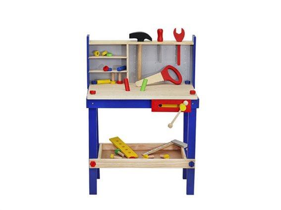 Ξύλινο Παιδικό Παιχνίδι Μίμησης, Εργαστήρι ξυλουργικής με Αξεσουάρ για ηλικίες 3 και άνω