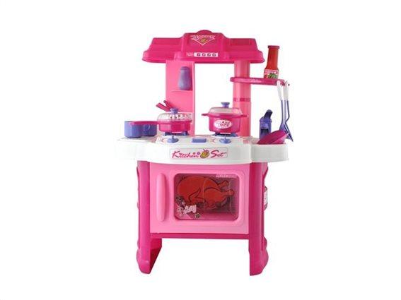 Παιδικό Παιχνίδι Κουζίνα για κορίτσια, με μικρό νεροχύτη και μάτια κουζίνας, σε Ροζ Χρώμα