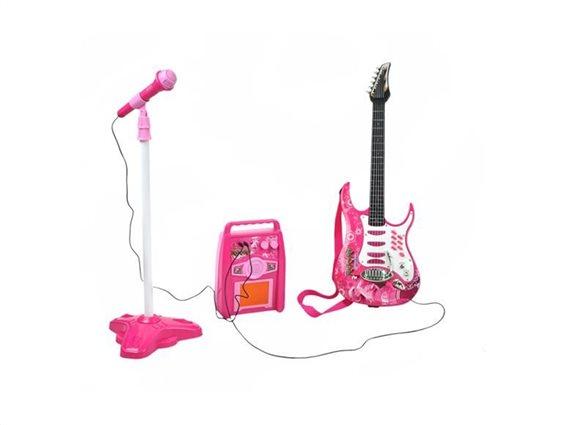 Σετ παιδική ηλεκτρική Κιθάρα με Μικρόφωνο Και Ενισχυτή σε ροζ χρώμα