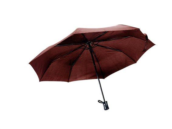 Αυτόματη Ομπρέλα Βροχής διαμέτρου 95 cm με καουτσούκ rubber λαβή, Amrini Καφέ