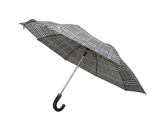 Αυτόματη Ομπρέλα Βροχής διαμέτρου 53 cm με λαβή γάντζο, Amrini Μαύρο Γκρι
