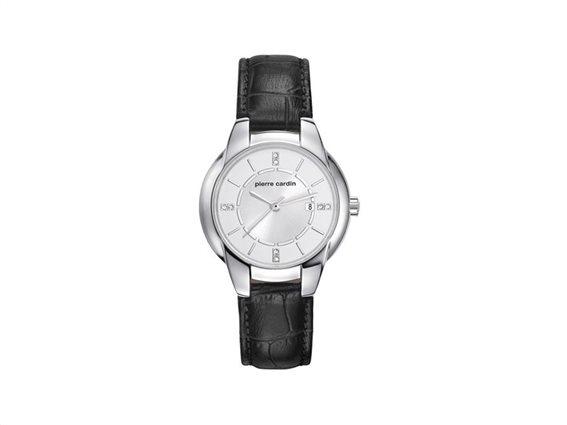 Pierre Cardin Γυναικείο Ρολόι χειρός με Ασημί καντράν με διαμαντάκια, Ασημί Κάσα, Ασημί ενδείξεις