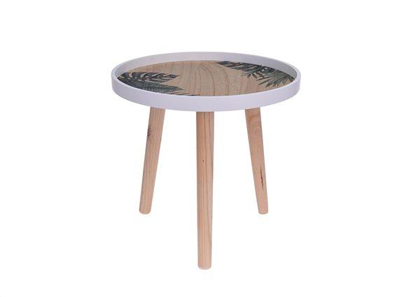 Μοντέρνο Ξύλινο Έπιπλο Στρογγυλό Τραπεζάκι με Τρίποδη Βάση στο χρώμα του ξύλου,  39.5x39.5x38.5 cm