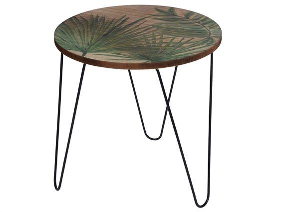 Στρογγυλό τραπεζάκι σαλονιού Side table με μεταλλικά πόδια με σχέδιο φύλλα Φοίνικα,  39x39 cm