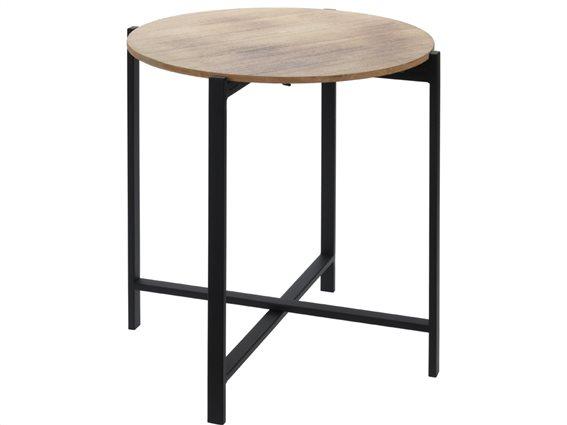 Μεταλλικό στρογγυλό τραπέζι Σαλονιού side table με μεταλλικά πόδια και ξύλινη επιφάνεια, 40x45 cm