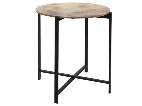 Μεταλλικό στρογγυλό τραπέζι Σαλονιού side table με μεταλλικά πόδια και ξύλινη επιφάνεια, 47x52 cm