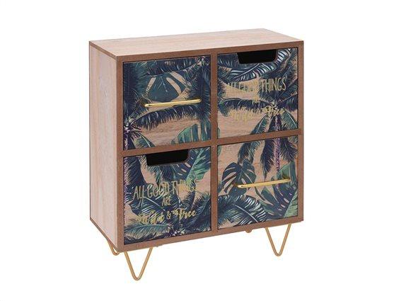 Mini Συρταριέρα Γραφείου με 4 συρτάρια και Σχέδιο Φύλλα και Χρυσά Γράμματα